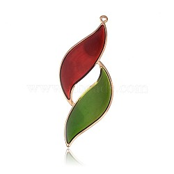 Pendentifs d'émail en fer plaqué or clair, deux grandes feuilles pendentifs, rouge, 81.5x34x1mm, Trou: 2mm(IFIN-J086-06KCG)
