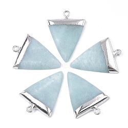 pendentifs en amazonite naturelle, avec les conclusions de fer, triangle, platine, 30~34x23x5~5.5 mm, trou: 1.6 mm(G-S344-49G)