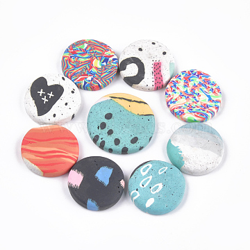 Handmade Polymer Clay Cabochons, Flat Round, Mixed Color, 25~30x4~6mm(X-CLAY-S092-06)