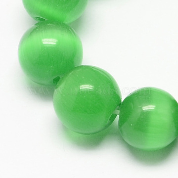 Cat Eye Beads Strands, Round, Sea Green, 6mm, Hole: 1mm; about 66pcs/strand, 14 inches(CE-R002-6mm-20)