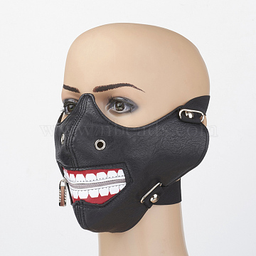 Punk Rock Style PU Leather Mouth Cover, with Iron Findings, Black, 260x137mm(AJEW-D038-09)