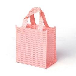 экологически чистые многоразовые сумки, нетканые сумки для покупок, розовый, 14x8x14.5 cm(ABAG-L004-B02)