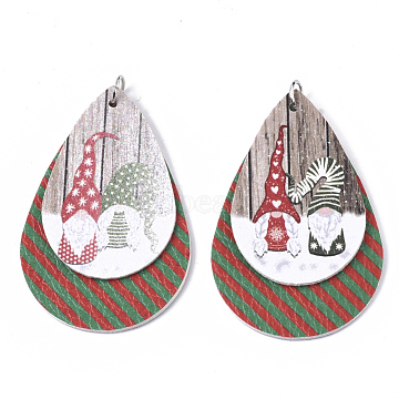 Christmas Theme PU Leather Big Pendants, with Platinum Tone Iron Jump Ring, teardrop, with Father Christmas, Camel, 56.5x37x3mm, Hole: 5mm(X-FIND-R080-06)