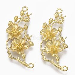 Pendentifs en laiton, pour la moitié de perles percées, sans nickel, fleur de prunier branche, non plaqué, 45x18x3mm, trou: 2 mm; broches: 0.8 mm(KK-T040-129-NF)