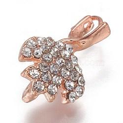 Pendentifs de bails de cheville en laiton strass, pour la moitié de perles percées, or rose, 18x10.5x6mm, trou: 3x3.5 mm; broches: 0.8 mm(KK-F773-02RG)
