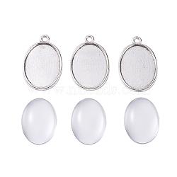 поделки кулон решений, с подвесными кабошонами из сплава и прозрачными овальными стеклянными кабошонами, Старинное серебро, 32x20.5x2 mm, отверстия: 2 mm(DIY-X0098-89AS)