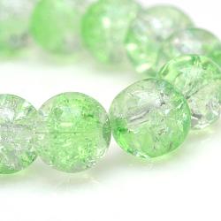 """Cuisson peints en verre craquelé brins de perles, rond, lightgreen, 4mm, trou: 1.1~1.3mm; environ 200 pcs/chapelet, 31.4""""(X-CCG-S001-4mm-13)"""