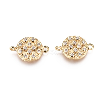 Brass Micro Pave Cubic Zirconia Links connectors, Flat Round, Golden, Clear, 17.5x12x3mm, Hole: 1.6mm(X-KK-D156-06G-C)