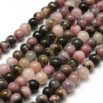 Natural Rhodonite Beads Strands, Round, 8mm, Hole: 1mm; about 47pcs/strand, 15.3inches(X-G-F364-01-8mm)