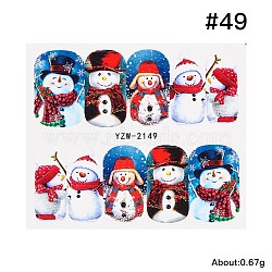 Full Cover Nail Art Stickers, Self-adhesive, For Nail Tips Decorations, Christmas Theme, Snowman Pattern, Colorful, 6.2x5.4cm(MRMJ-Q058-2149)