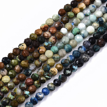 Gradient Style Natural Chrysocolla Beads Strands, Round, Faceted, 2mm, Hole: 0.5mm, about 204~208pcs/strand, 15.35 inches(39cm)(G-S362-052)