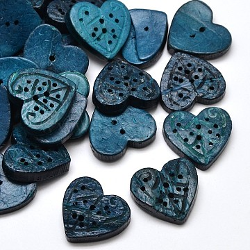 Heart Coconut 2 Holes Sewing Buttons, Dyed, Royal Blue, 20~21x22~23x4~6mm, Hole: 1mm(X-BUTT-O008-30A)