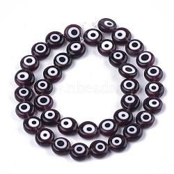 ручной сглаза бусины бисер нитей, плоские круглые, coconutbrown, 9.5~10.5x3.5~4 mm, отверстия: 1.2 mm; о 38 шт / прядь, 14.1(LAMP-S191-02C-04)
