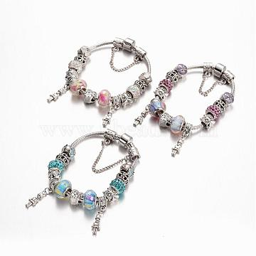 Alloy Rhinestone Bead European Bracelets, with Glass Beads and Brass Chain, Mixed Color, 190mm(BJEW-L602-18)