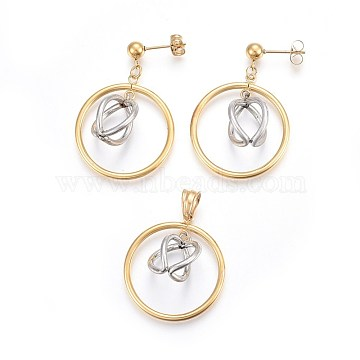 304 Stainless Steel Jewelry Sets, Pendant and Dangle Stud Earrings, Ring, Golden & Stainless Steel Color, 30x27mm; Hole: 5x6mm; 39x27mm; Pin: 0.8mm(SJEW-F186-04G)