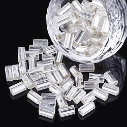 Perles de rocaille en verre, argent bordée trou carré, cube, fumée blanche, 6~7x3.5x3.5mm, trou: 1.2 mm; environ 450 g / sac(SEED-S018-05)