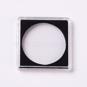 Plastic Collection Boxes, Coin Display Boxes, Square, Black, 4.95x4.95x0.65cm, Inner: 3.95cm(CON-WH0068-79E)