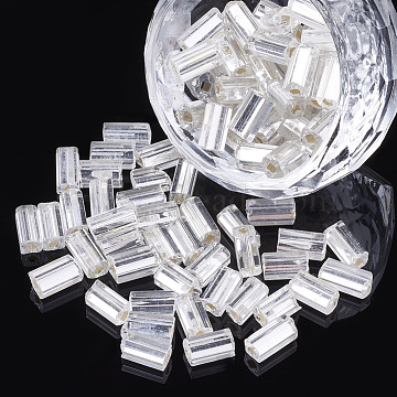 Glass Seed Beads, Silver Lined Square Hole, Cube, WhiteSmoke, 6~7x3.5x3.5mm, Hole: 1.2mm; about 450g/bag(SEED-S018-05)