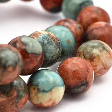 4mm SaddleBrown Round Ocean White Jade Beads