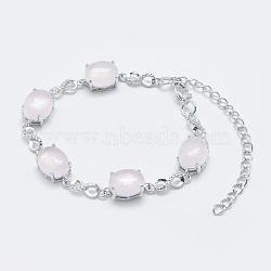 """Bracelets chaîne à maillons en quartz rose naturel, avec les accessoires en laiton, Platine plaqué réel, ovale et infini, 5-3/4""""~6"""" (14.5~15 cm)(BJEW-G595-A07)"""