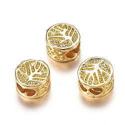 Environmental Brass Micro Pave Cubic Zirconia Beads, Flat Round with Tree of Life, Cadmium Free & Lead Free, Golden, 8x5mm, Hole: 3x5mm(X-ZIRC-F067-09G-RS)