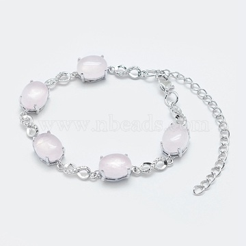 Natural Rose Quartz Link Chain Bracelets, with Brass Findings, Real Platinum Plated, Oval and Infinity, 5-3/4 inches~6 inches(14.5~15cm)(BJEW-G595-A07)