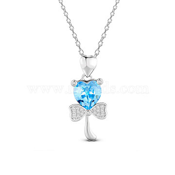 SHEGRACE 925 Sterling Silver Pendant Necklace, Austrian Crystal, with Micro Pave AAA Cubic Zirconia, Flower, Deep Sky Blue, 17.71 inches(JN598A)