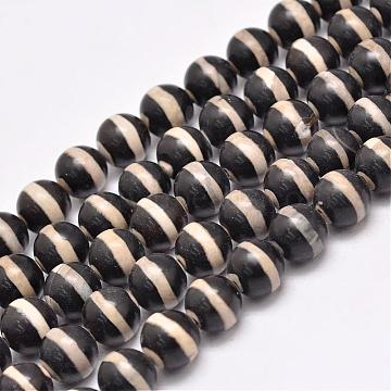 Natural Tibetan Striped Pattern dZi Agate Beads Strands, Round, Dyed & Heated, Black, 10mm, Hole: 1.5mm; about 35pcs/strand, 13.9inches(G-F354-19C)