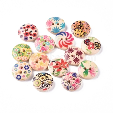 2-Hole Printed Wooden Buttons, for Sewing Crafting, Flat Round, Dyed, Mixed Color, 14.5~15x4mm, Hole: 2mm(X-WOOD-E011-01)
