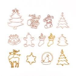 Pendentifs de lunette ouverte en alliage, pour diy uv résine, une résine époxy, Bijoux à fleurs pressées, le thème de Noël, formes mixtes, or et or rose, 13 pièces / kit(PALLOY-X0037-25)