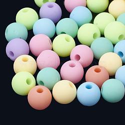 Perles acryliques de style caoutchouté, rond, couleur mixte, 8x7mm, Trou: 2mm(X-MACR-S281-47-8mm)