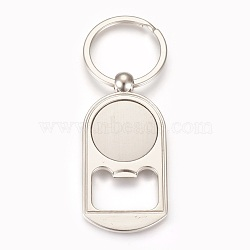 Zinc Alloy Cabochon Settings Bottle Openers, Blanks Cameo Bezel Findings, with Iron Ring, Flat Round, Platinum, Tray: 25mm; 89mm; 63x31x3.5mm; 1pc/box(X-AJEW-E038-04P)