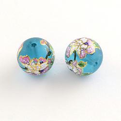Perles en verre avec image de fleur, avec du métal d'or enlacés, violette, 14x13mm, Trou: 1.5mm(GFB-R004-14mm-F13)
