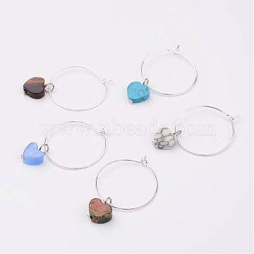 Mixed Gemstone Wine Glass Charms, with Brass Hoop, Heart, Silver Color Plated, 25mm(AJEW-JO00150)