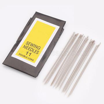 Iron Sewing Needles, Darning Needles, Platinum, 0.45mm thick, 48mm long, hole: 0.3mm, 25pcs/bag(X-E256-11)