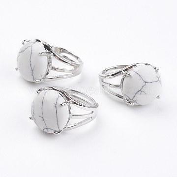 Adjustable Natural Howlite Finger Rings, with Brass Findings, US Size 7 1/4(17.5mm)(X-RJEW-F075-01Q)