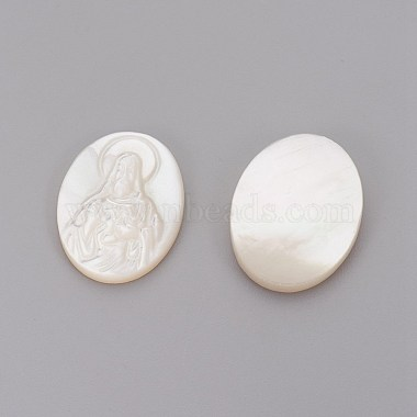 Natural White Shell Mother of Pearl Shell Cabochons(SHEL-P071-09)-2