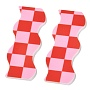 Opaque Resin Cabochons, Two Tone, Wave with Chessboard Pattern, Red, 6.15x2.2x0.2cm