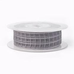 "Rubans de polyester, Motif tartan, gris clair, 1"" (25 mm); environ 50yards / rouleau (45.72m / rouleau)(SRIB-L040-25mm-A072)"