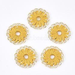 тканые подвески из ниток, сплава с выводами, плоские круглые, золотой, золото, 27~27.5x3~4 mm, отверстия: 3~5 mm(FIND-S306-11G)