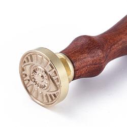 scrapbook bricolage, tampon de cire en laiton et poignées en bois, oeil, or, 90 mm; timbres: 25x14.5 mm(AJEW-WH0100-030)