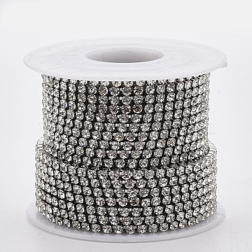 304 Stainless Steel Rhinestone Strass Chains, with Spool, Rhinestone Cup Chains, Crystal, Stainless Steel Color, 2.5mm, about 32.8 Feet(10m)/roll(CHS-R012-C-01)