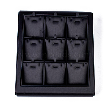 Wooden Necklace Presentation Boxes, Covered with PU Leather, Black, 22x25x5cm(PDIS-O003-02)