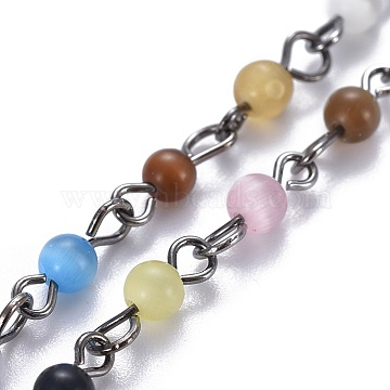 Handmade Cat Eye Beaded Chains, Unwelded, with 304 Stainless Steel Eye Pins, Gunmetal, 12x4mm; 39.37 inches(1m)/strand(AJEW-JB00481-04)