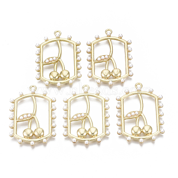 Alloy Pendants, with ABS Plastic Imitation Pearl, Rectangle, Cherry, Light Gold, Creamy White, 35x24x5mm, Hole: 1.8mm(PALLOY-N155-15)