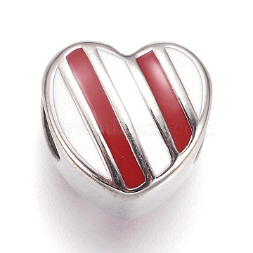 304 Stainless Steel European Beads, with Enamel, Large Hole Beads, Heart, Stainless Steel Color, Red, 11x11x8mm, Hole: 5mm(STAS-F195-109B)