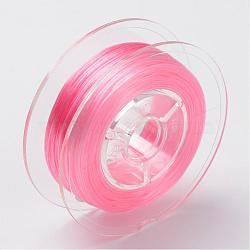 Chaîne de cristal élastique plate teinte à l'environnement japonaise, fil de perles élastique, pour la fabrication de bracelets élastiques, plat, rose, 0.6mm; Environ 60 m / rouleau (65.62 heures / rouleau)(EW-F005-0.6mm-13)