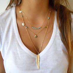 laiton métal plumes et turquoise perles trois colliers à plusieurs niveaux, 3 colliers de couches, or, 17.7, Plume: 27.5 mm de long.(NJEW-N0052-012A)