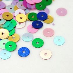 paillette en plastique / perles paillettes, couleur mélangée, 6 mm, trou: 1 mm(PVC6mm)