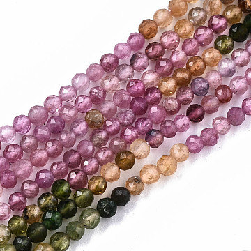 Gradient Style Natural Tourmaline Strands, Faceted, Round, 2.5mm, Hole: 0.5mm, about 181pcs/strand, 15.55 inches(39.5cm)(G-S362-075)